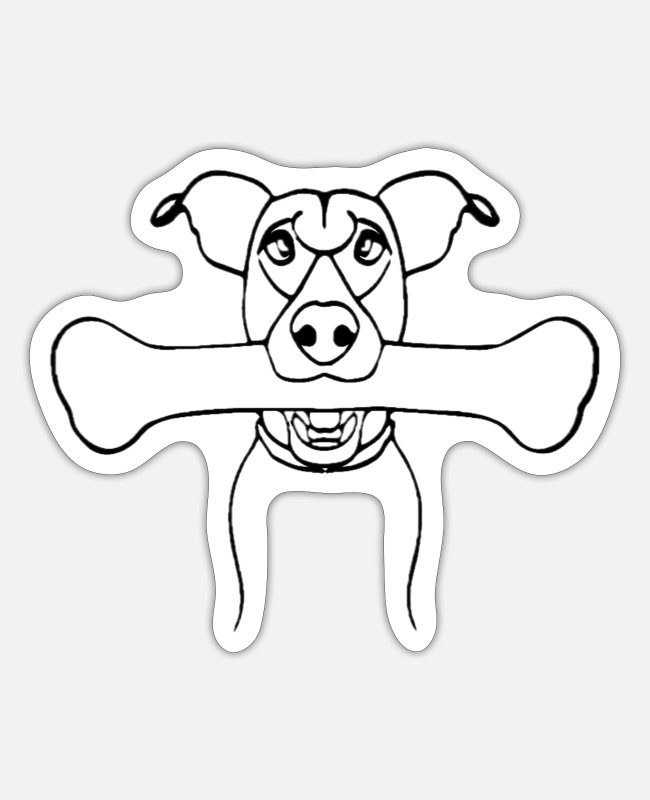Woof Stickers - Dog with bones, animal, dog, bones - Sticker white matte