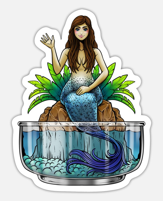 Water Stickers - Mermaid Illustration | Mythical creature mermaid sea - Sticker white mat