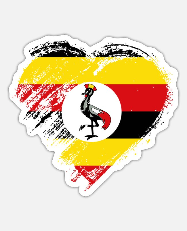 Heart Stickers - Grungy I Love Uganda Heart Flag - Sticker white matte