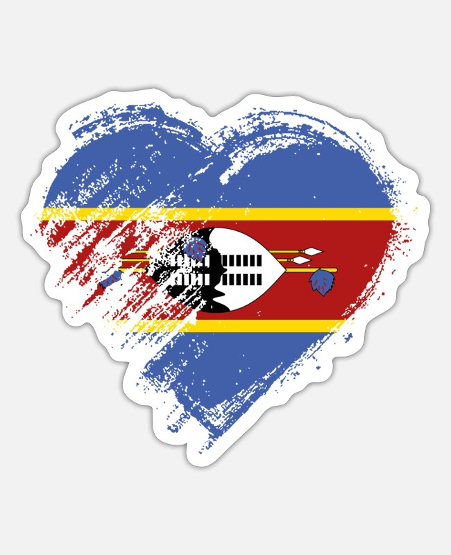 Heart Stickers - Grungy I Love Swaziland Heart Flag - Sticker white matte