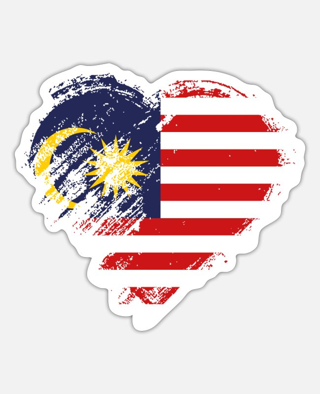Heart Stickers - Grungy I Love Malaysia Heart Flag - Sticker white matte