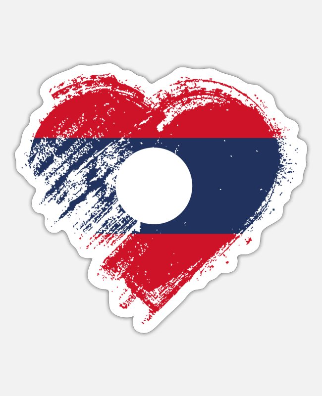 Heart Stickers - Grungy I Love Laos Heart Flag - Sticker white matte