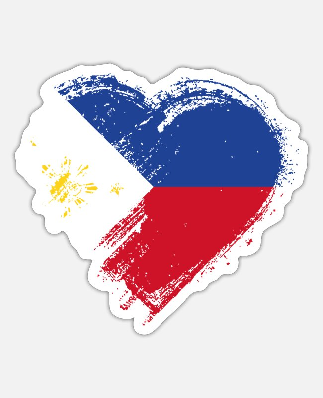Heart Stickers - Grungy I Love Philippines Heart Flag - Sticker white matte