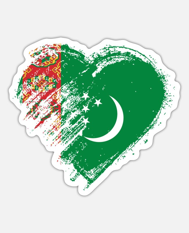 Heart Stickers - Grungy I Love Turkmenistan Heart Flag - Sticker white matte