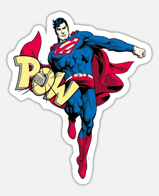 Movie Stickers - Superman Pow Teenager's T-Shirt - Sticker mat wit