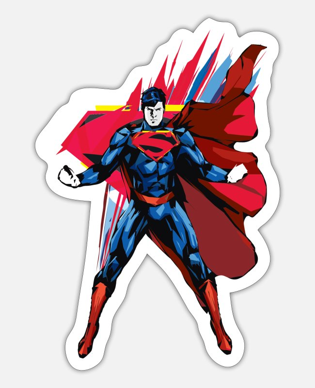 Movie Stickers - Superman Power Pose Teenager's T-Shirt - Sticker mat wit