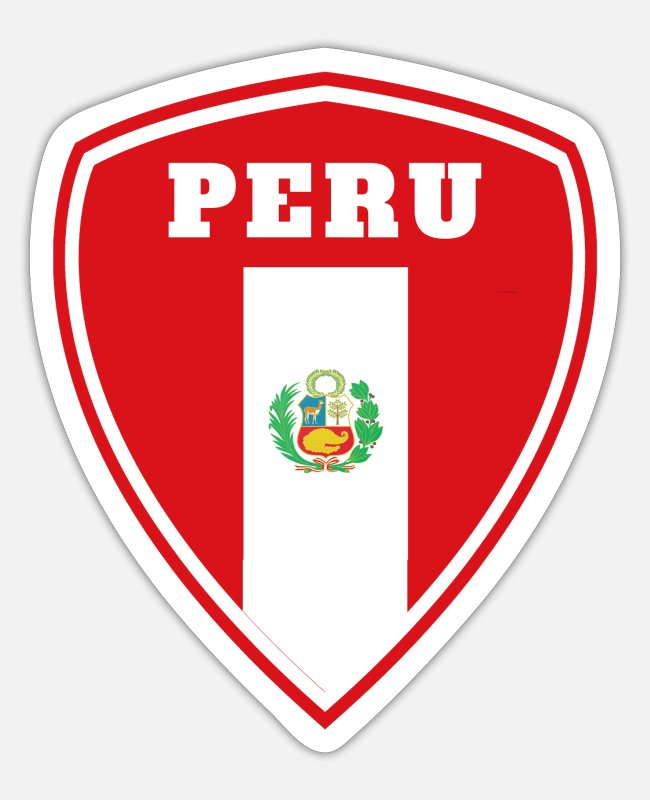 South America Stickers - Peru Coat of Arms / Gift South America Flag Lima - Sticker white mat