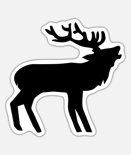 Stag Stickers - Belling stag - Sticker white mat