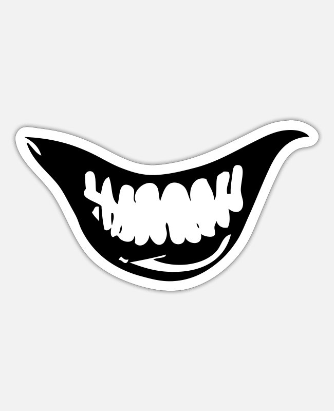 Grin Stickers - Evil grin - Sticker white mat