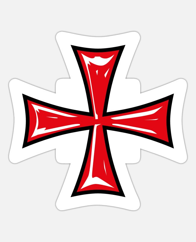 Templar Stickers - 13 Templar Cross Knight's Cross Crusader - Sticker white mat