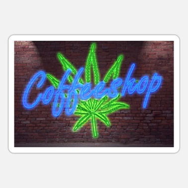 Coffeeshop Neon Lettering Coffeeshop on Brick Wall Poster - Sticker
