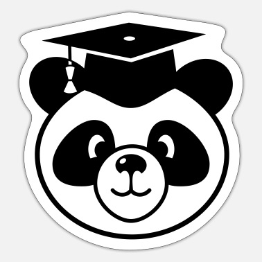 State Exam Panda with mortarboard - doctorate, state exam - Sticker