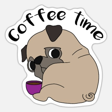 Dog Pug Coffee Addicted Office Dog Humor Gift - Sticker