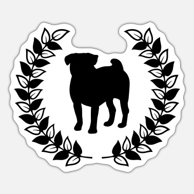 Laurel Wreath Pug laurel wreath - Sticker