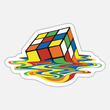 Månedens Design Rubik's Cube Melted Colourful Puddle - Sticker