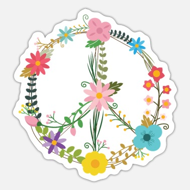 Sign Peace Sign sign with flowers - Sticker