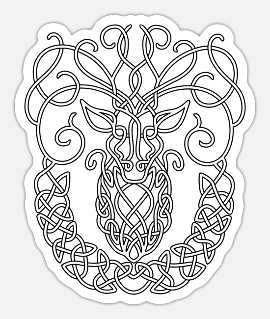 Stag Stickers - Celtic Stag - Sticker white mat