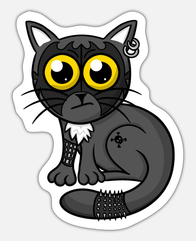 Hardrock Stickers - Zwaar metalen kat - Sticker mat wit
