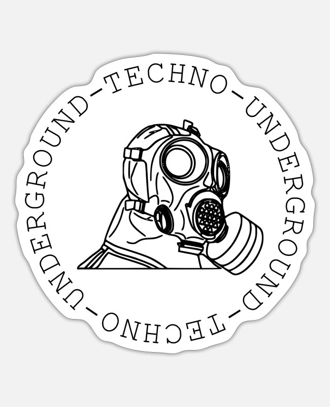 Techno Music Stickers - Techno - techno music - gas mask - underground - Sticker white mat