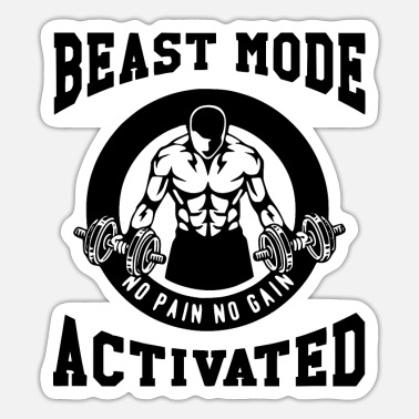 Training Beast Mode Activated 3- Bodybuilder Fitness Gym - Sticker
