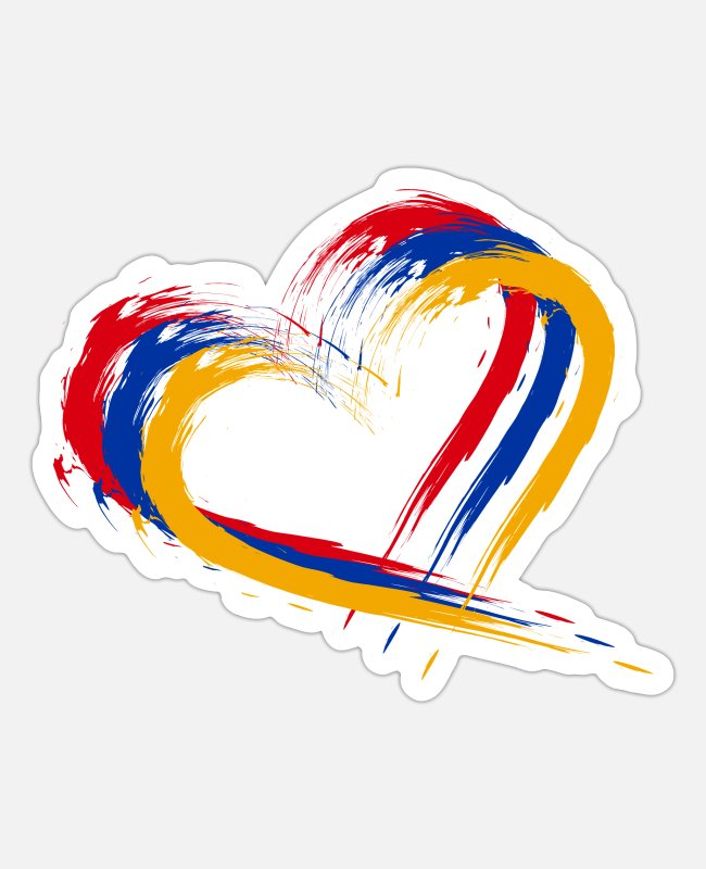 Armenia Stickers - Heart brush flag Armenia colors flag - Sticker white mat