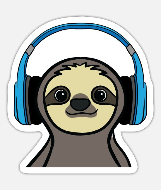 Lazy Stickers - Sloth Funny Headphones Music Stereo Gift - Sticker white mat