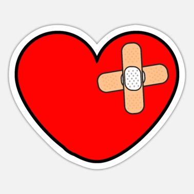 Injured Injured heart with pave gift - Sticker