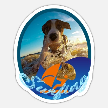 Designline Dog Hund Surfing Surfen - Sticker