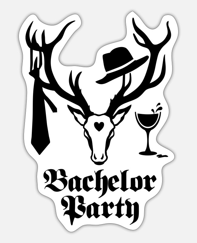 Stag Stickers - 10 stag deer gentlemen bachelor party Wine JGA 1c - Sticker white mat
