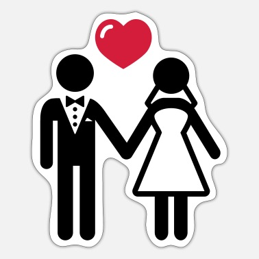 Bride And Groom Bride and groom with heart - Sticker