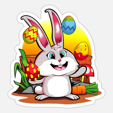 Oyster Eggs Easter Bunny | Happy Easter Juggling Eggs - Sticker