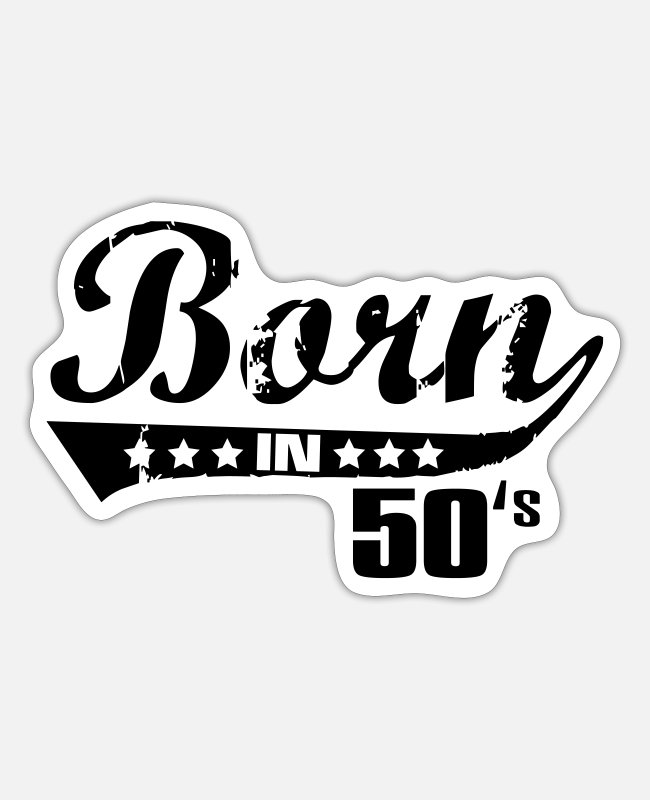 Party Stickers - Born in 50's - Sticker white mat