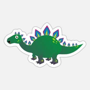 Cartoon Dinosaur Baby Green Dinosaur Dragon Cartoon - Sticker