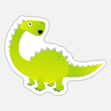 Cartoon Dinosaur Huge Green Brachiosaurus Dinosaur Cartoon - Sticker