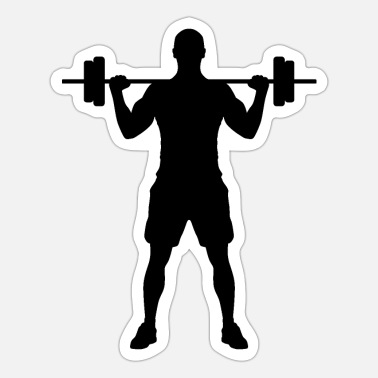 Silhuet Dumbbells man silhuet - Sticker