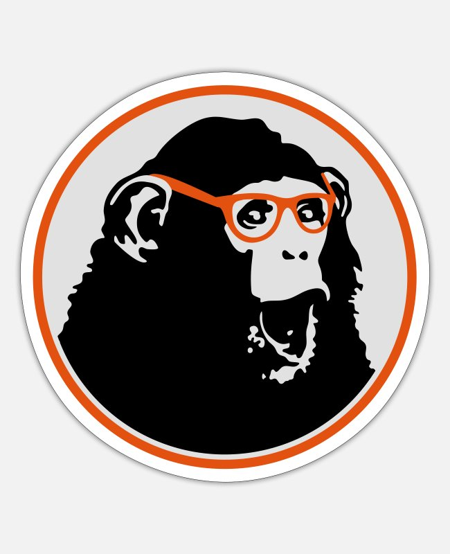 Nerd Glasses Stickers - Nerdy Ape with Glasses - Sticker white mat
