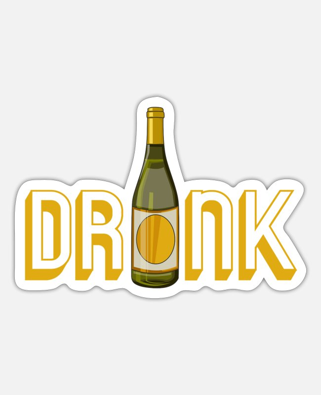 Wine Stickers - Drinking top at a drinking event - Sticker white mat