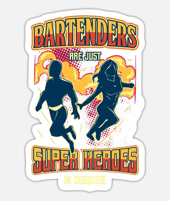 Superhero Stickers - Bartender Superhero T-Shirt Alcohol Party Drinks - Sticker white mat