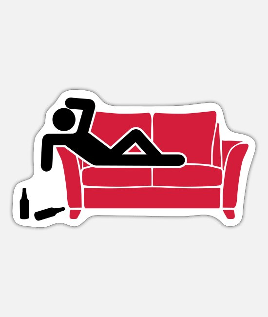 Sleep Stickers - drunk hangover pictogram - Sticker white mat