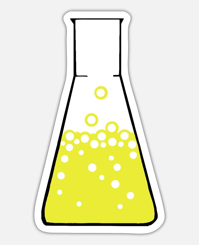 Science Stickers - Erlenmeyer flasks - Sticker white matte
