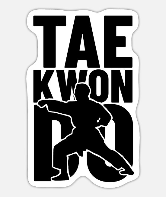 Martial Arts Stickers - taekwondo shirt gave til tae-kwon-do krigere - Sticker mat hvid