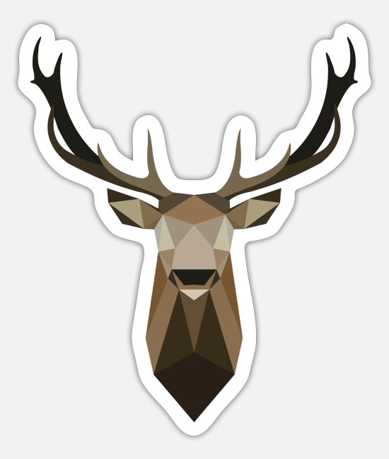 Stag Stickers - Stag polygon art - Sticker white mat