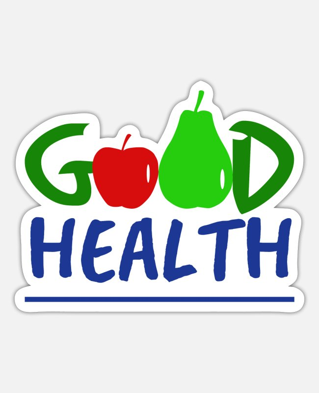 Red Stickers - Good Health with fruit - Good health with fruit - Sticker white matte