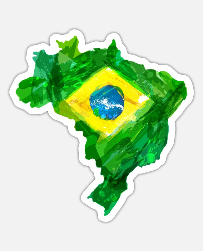 Gift Stickers - Brazilië - Sticker mat wit