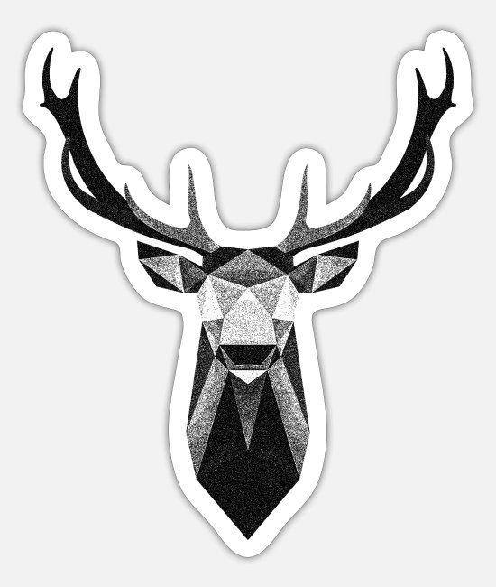 Stag Stickers - Stag Dotwork - Sticker white mat