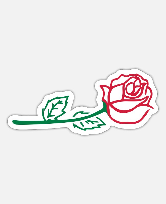 Nature Stickers - Rose - Sticker white mat