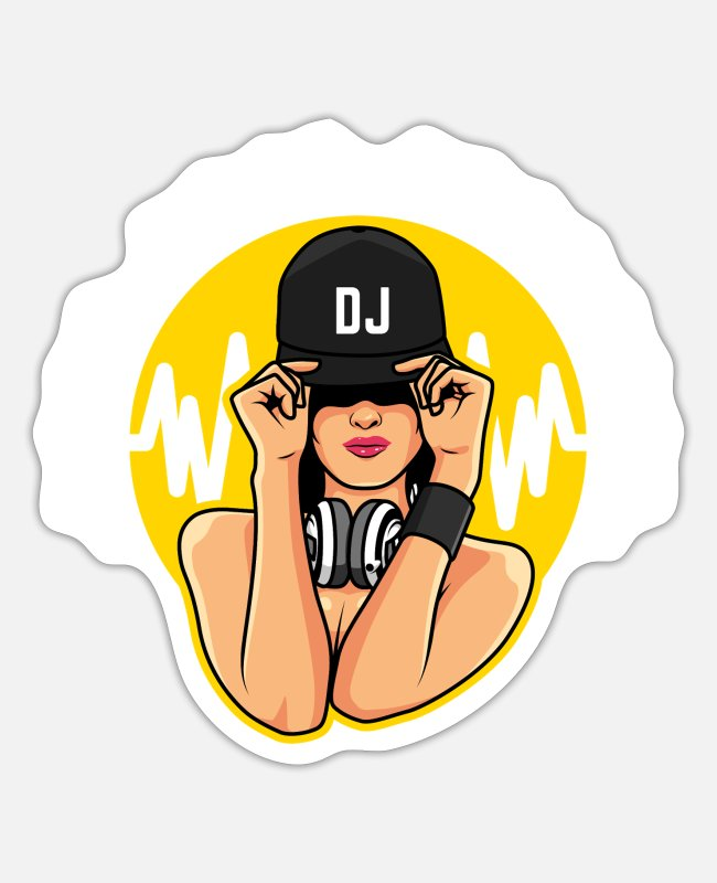 Headphones Sticker - DJ Producer Geschenk Deejay Discjockey Beatmaker - Sticker Mattweiß