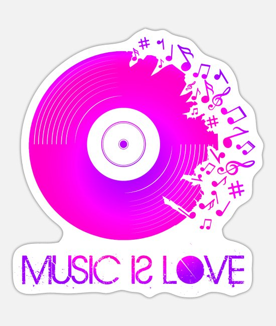 Turn Table Stickers - Music is Love - Neon Vinyl - Sticker white mat