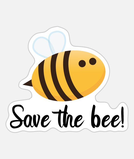 Save The Bee Sticker - Save the bee! - Sticker Mattweiß