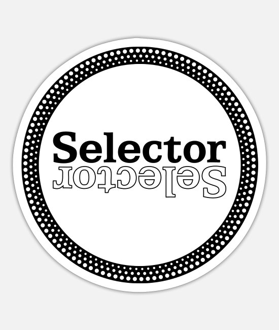 Techno Stickers - Selector DJ - Platter (zwart) - Sticker mat wit